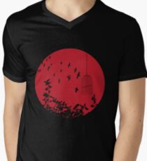 Flying Free 2 Red Large Mens V-Neck T-Shirt