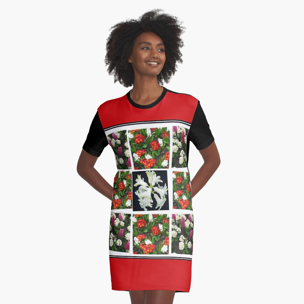 Hyacinths and Primroses Spring Collage T-Shirt Kleid