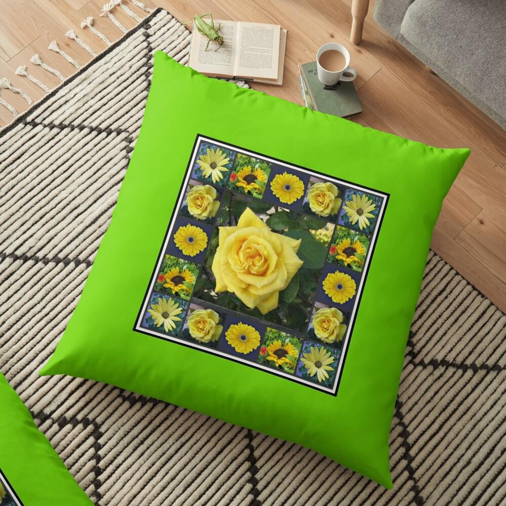 Goldene Schönheiten Collage Bodenkissen