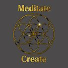 Meditate Create Seed of Life in Gold by Hyrnrg