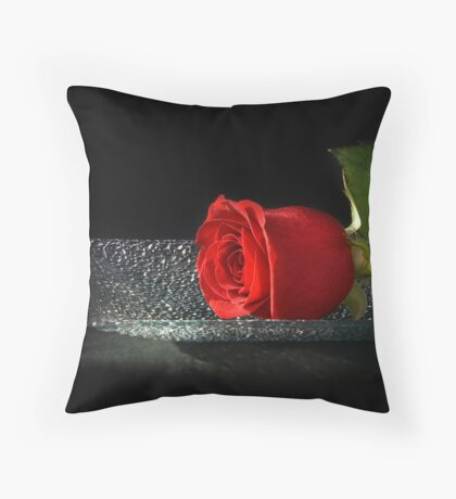 Rose On A Glass Tray Throw Pillow