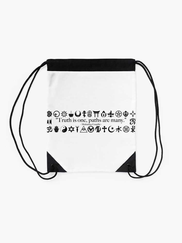 Alternate view of Truth Is One, Paths Are Many - World Religions Drawstring Bag