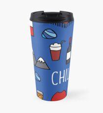 Chile icons. Chilean theme seamless doodle pattern Travel Mug