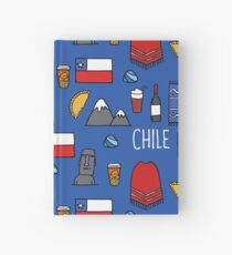 Chile icons. Chilean theme seamless doodle pattern Hardcover Journal