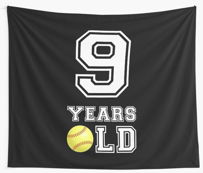 9 Years Old Softball 9th Birthday Gift By Davdmark