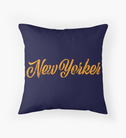 Used New Yorker Hand Lettering Throw Pillow