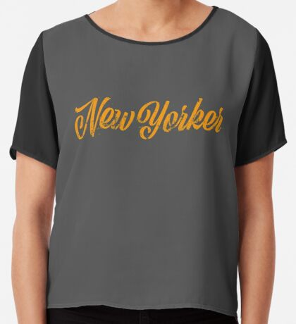 Used New Yorker Hand Lettering Chiffon Top