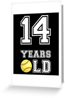 14 Years Old Softball 14th Birthday Gift