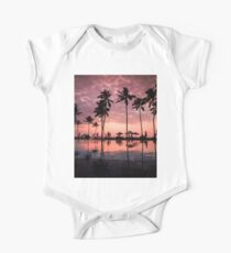 Pink Sunset by a Beach Resort Pool One Piece - Short Sleeve