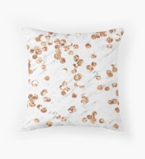 Rose gold crystals - white marble Throw Pillow