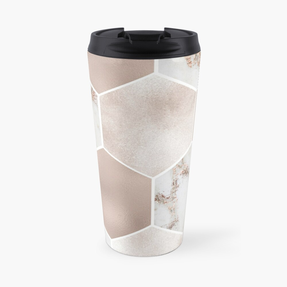Artico Marmor Rose Gold Perle Sechsecke Thermobecher