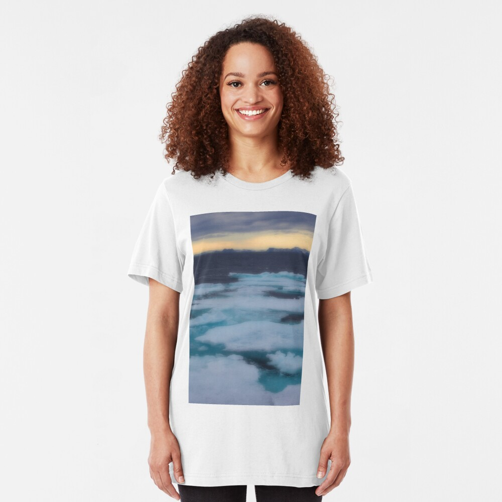 Nordkappsundet Mountains and Ice Field Slim Fit T-Shirt