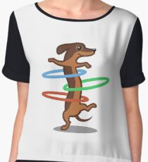 Funny Dachshund HulahoopTshirt - Dog Gifts for Doxie and Sausage Dog Lovers Chiffon Top
