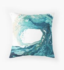 Ocean Wave Art Print Picture - Turquoise Sea Surf Beach Decor  Throw Pillow