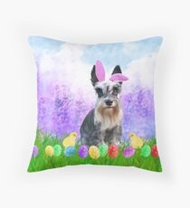 Miniature Schnauzer with Easter Eggs Bunny Chicks  Throw Pillow