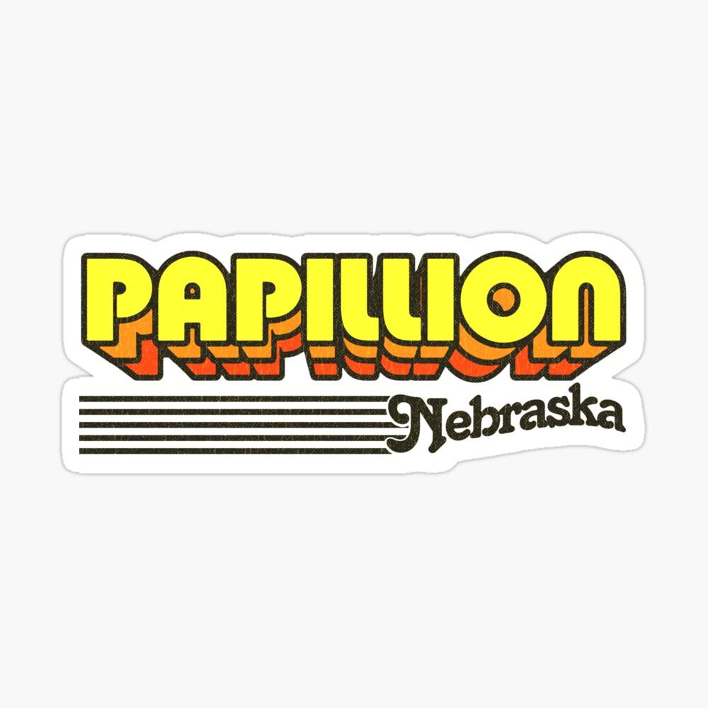 Papillion, Nebraska | Retro Stripes Sticker