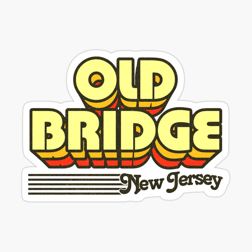 Old Bridge, New Jersey | Retro Stripes Sticker