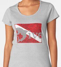 Shark Scuba Dive - Distressed Dive Flag Great White Shark Women's Premium T-Shirt