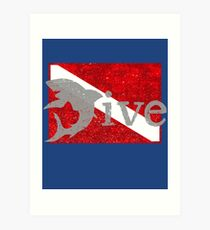 Shark Scuba Dive - Distressed Dive Flag Great White Shark Art Print