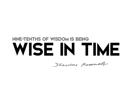 nine-tenths of wisdom is being wise in time - theodore roosevelt by razvandrc