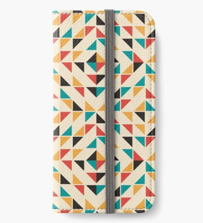Patrón de triángulos de colores de mediados del siglo Funda tarjetero para iPhone