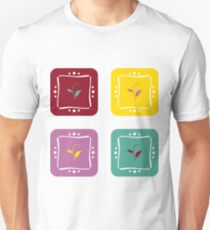 Colorful square stickers with a little plant motif. Unisex T-Shirt