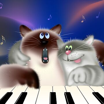 Cats Playing Piano by lydiasart