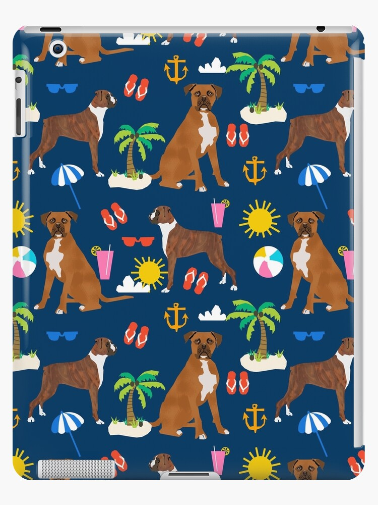Boxer dog summer beach tropical palm tree vacation boxers pet gifts by PetFriendly