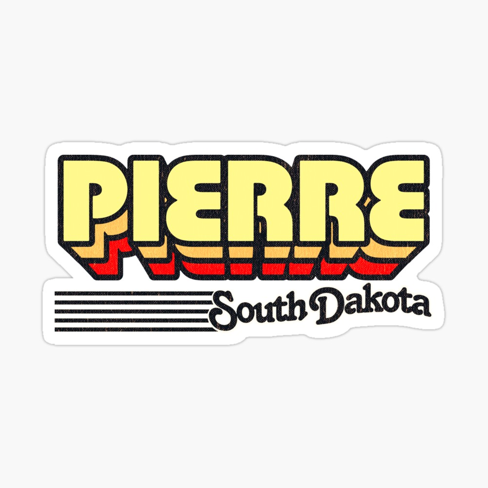 Pierre, South Dakota   Retro Stripes Sticker