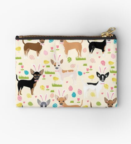 Chihuahua dog breed easter bunny spring easter eggs dog pattern gifts chihuahuas Zipper Pouch