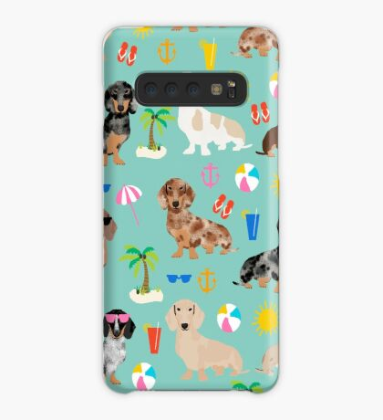 Dachshunds beach summer tropical vacation weener dogs doxie gifts Case/Skin for Samsung Galaxy
