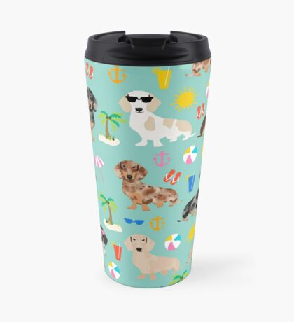Dachshunds beach summer tropical vacation weener dogs doxie gifts Travel Mug