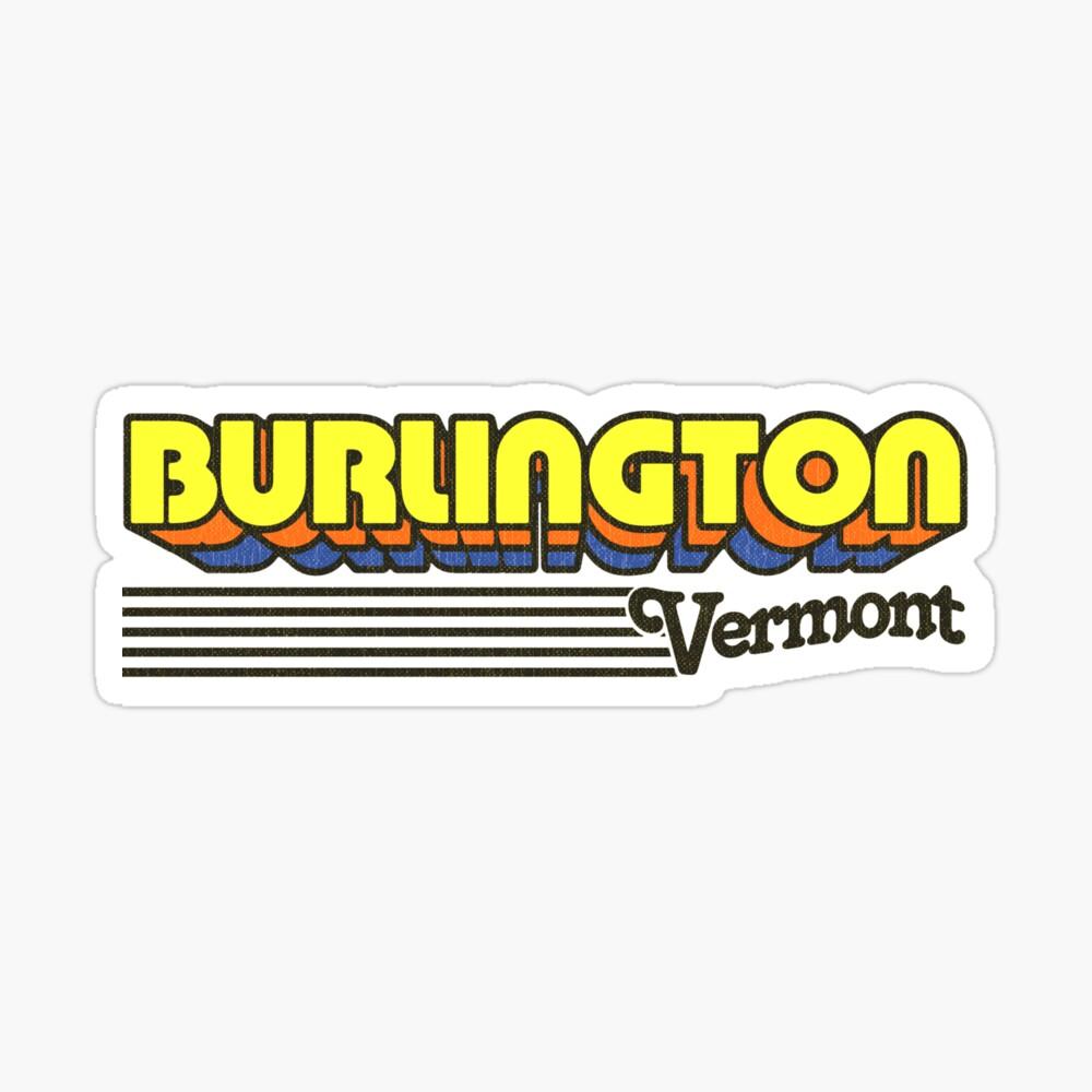 Burlington, Vermont   Retro Stripes Sticker
