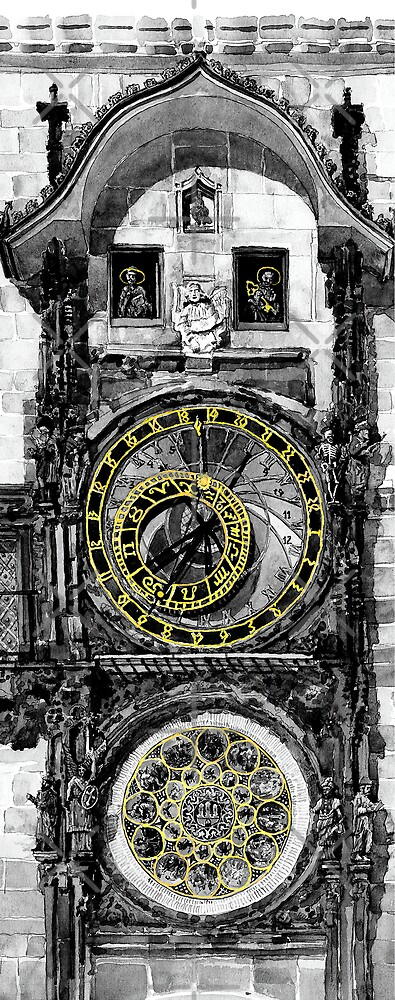 BW Prague The Horologue at OldTownHall by Yuriy Shevchuk