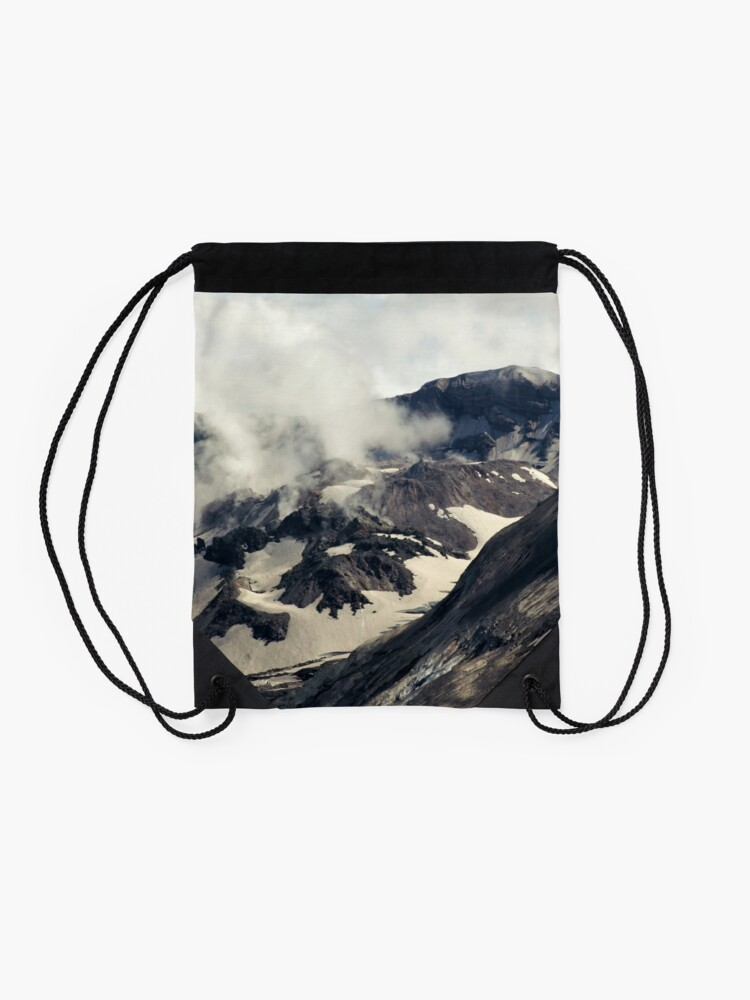 Alternate view of Mount St Helens lava dome closeup Drawstring Bag