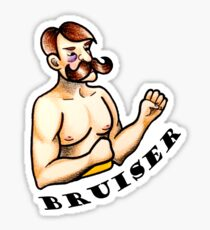 Bruiser vintage boxer traditional old school tattoo design Sticker