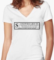 snowboard : warning label Women's Fitted V-Neck T-Shirt