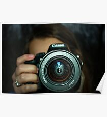 Girl Holding Canon Camera Poster
