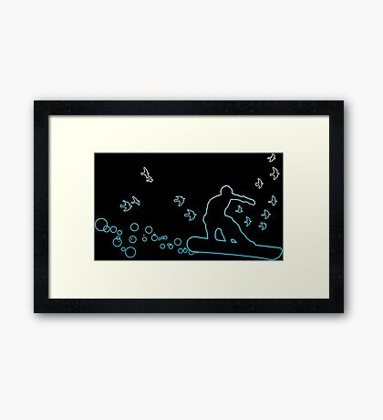 board with birds and bubbles Framed Print