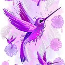 Hummingbird Spirit Purple Watercolor  by BluedarkArt