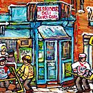 MONTREAL WINTER SCENE HOCKEY ART PAINTING FOR SALE QUEBEC CORNER STORE DEPANNEUR by Carole  Spandau