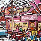 MONTREAL STREET HOCKEY WINTER STOREFRONT PAINTINGS FOR SALE by Carole  Spandau