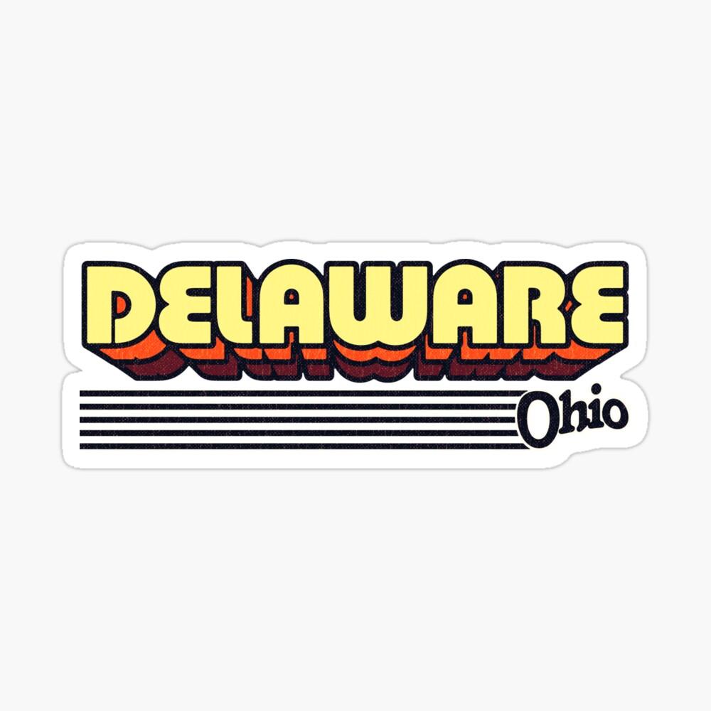 Delaware, Ohio | Retro Stripes Sticker