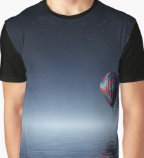 Red and Blue Hot Air Balloon Floating in the Moon Light on Body of Water Graphic T-Shirt