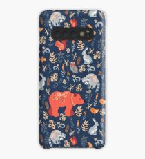 Fairy-tale forest. Fox, bear, raccoon, owls, rabbits, flowers and herbs on a blue background. Case/Skin for Samsung Galaxy