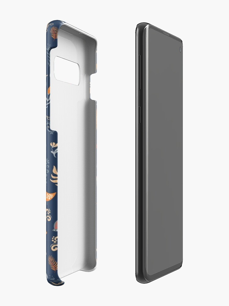 Alternate view of Fairy-tale forest. Fox, bear, raccoon, owls, rabbits, flowers and herbs on a blue background. Case & Skin for Samsung Galaxy