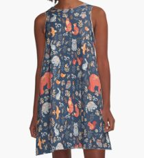 Fairy-tale forest. Fox, bear, raccoon, owls, rabbits, flowers and herbs on a blue background. A-Line Dress