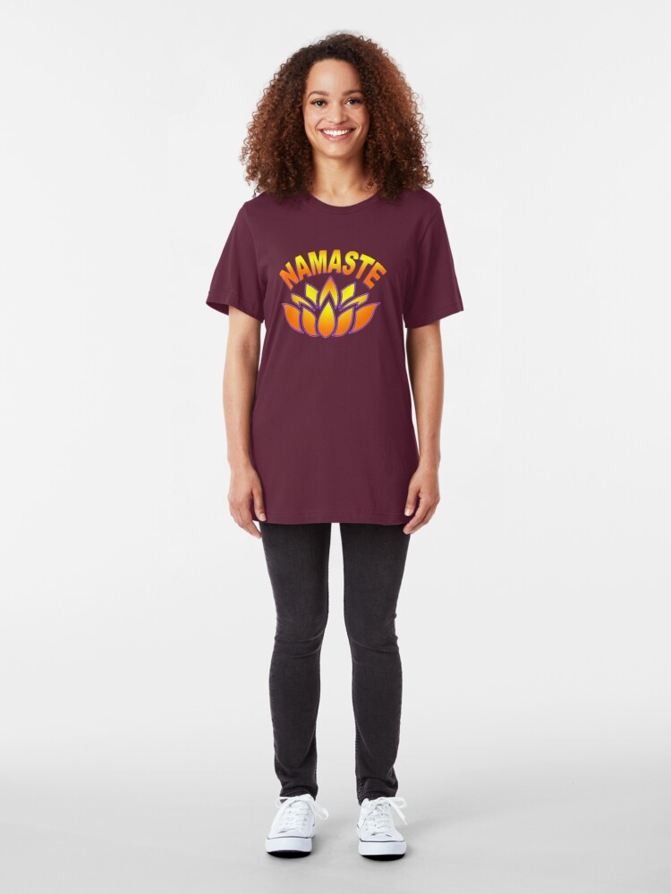 Alternate view of Namaste Lotus Flower  Slim Fit T-Shirt