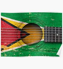 Póster Old Vintage Acoustic Guitar with Guyanese Flag