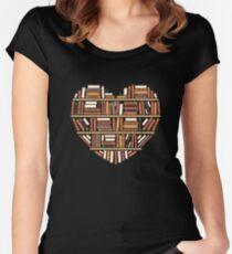 I Herz Bücher Tailliertes Rundhals-Shirt